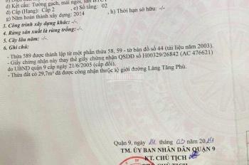 Cần bán căn nhà 1 trệt 1 lầu, DT 137m2 (7 x 21m) mặt tiền đường Làng Tăng Phú, Quận 9