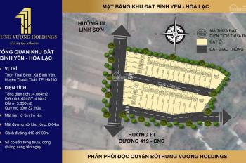 Bán đất nền sát vách công nghệ cao Hoà Lạc, giá 1,4tỷ, đã sổ đỏ thổ cư lâu dài 0986853461
