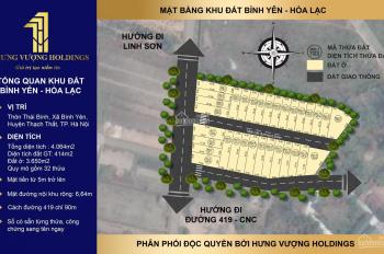Đất nền Hòa Lạc nằm ở mặt đường lớn, trục chính ở Xã Bình Yên, ngay sát vách công nghệ cao Hòa Lạc
