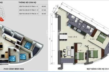 Căn hộ 98,4M2 (DTTT) Tầng cao tòa B-Golden Heart VINACONEX 2 KĐT KVKL