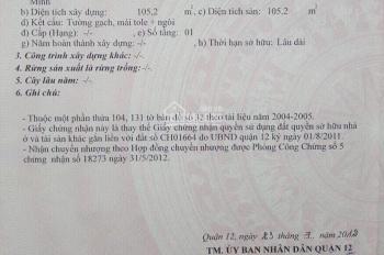 MT Nguyễn Ảnh Thủ. DT 6mx25m, đang cho thuê, F Hiệp Thành, Q12, giá: 15 tỷ TL