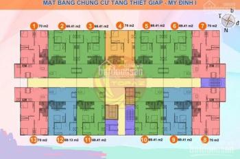 Chú Hưng cho thuê gấp CH 801, DT 70m2,3PN, CC Tăng Thiết Giáp, Đình Thôn, giá 8tr/tháng