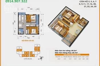 Bán căn hộ 69m2 tòa 18T1 Golden An Khánh ban công Đông Nam. Sổ hồng chính chủ giá 1,1 tỷ bao tên