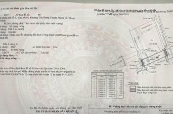 Bán lô đất Trường Chinh hoặc Song Hành Q12 vào. DT 4,5x20m hẻm 4m, 3ty7 còn TL, LH: 0909677159