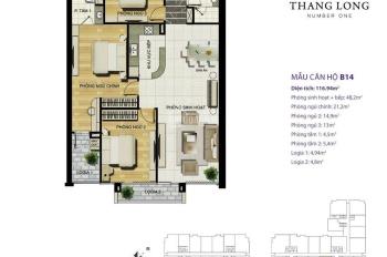 Cho thuê căn hộ 3 PN 117m2, giá 17 tr/m2 - Thăng Long No1