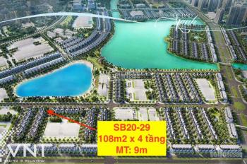 Chính chủ bán liền kề đẹp Vinhomes Ocean Park 108m2 x 4 tầng 1 bước ra hồ