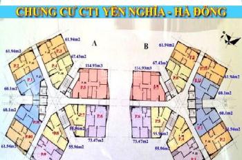 Chuẩn bị nhận nhà chính chủ bán nhanh căn hộ 1001 DT 60.1m2 CC CT1 Yên Nghĩa, 13tr/m2. 0964964059
