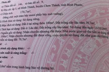 Ấp 5 Minh Thành, Chơn Thành, chính xác 350tr, đường 12m,thổ cư, sổ cầm tay 0986821503 (zalo)