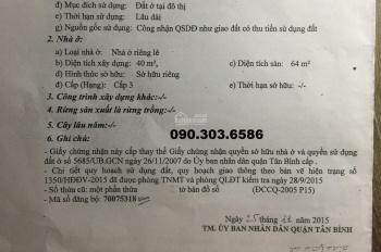 Bán nhà cấp 4 HXH đường Tân Trụ, P15, quận Tân Bình, DT 4x13m. Bán 3.9 tỷ
