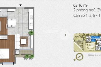 Cho thuê căn hộ An Gia Garden 63m2, 2PN 2WC, Lầu cao, View hồ bơi, 9tr