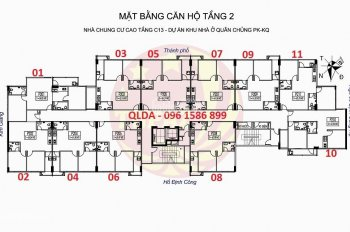 Bán gấp chung cư C13 Bộ Quốc Phòng, căn 08, DT 62.47m2, giá 19tr/m2. LH - 0963777502