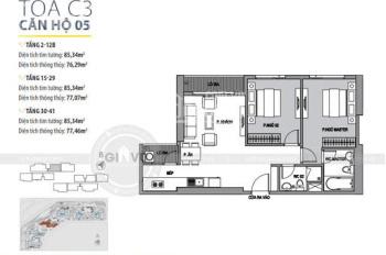 Bán căn 2PN 85m2 tòa c3 view bể bơi, nhạc nước dự án Vinhomes Dcapitale giá 3,5 tỷ