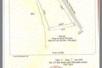 Bán đất diện tích 10,696m2 mặt tiền 145m mặt biển , mặt phố Trận Hưng Đạo,Dương Đông, Phú Quốc