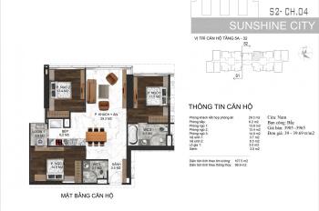 Sunshine City suất ngoại giao 3,4 tỷ/3PN 100m2, sắp nhận nhà, full nội thất thiết kế đẹp, ký hđ CĐT