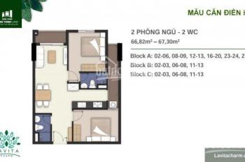 Bán CH Lavita Charm, giá bán: 2.390 tỷ. DT: 67,3m2, tầng 11, gồm 2PN, 2WC tiêu chuẩn Smart Home