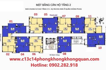 Nhượng lại căn hộ tại chung cư C13 Bộ Quốc Phòng, tầng 1002, DT 65.17m2, giá 21tr/m2. 0904516638