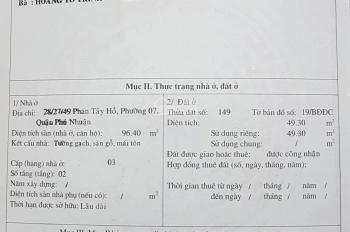 Bán gấp nhà 2 mặt hẻm (49m2) 28/27/49 Phan Tây Hồ, P. 7, Phú Nhuận