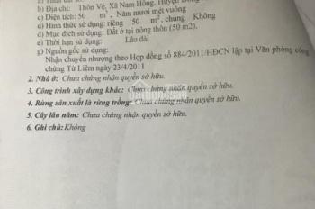 Bán 50m2 thôn Vệ giá công nhân cách chợ Nam Hồng 200m LH:0823330001.