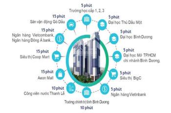 Căn hộ cao cấp ở KDC Chánh Nghĩa 73.8m2, 2PN, 2WC, thanh toán 680 triệu nhận nhà, vay 0% LS
