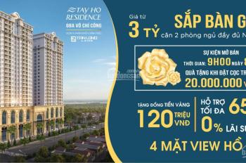 Sở hữu căn hộ cạnh Hồ Tây chỉ từ 3tỷ - CC Tây Hồ Residence, quà tặng 90 - 200tr, CK 3.9%, HTLS 0%
