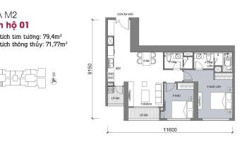Bán gấp căn hộ Vinhomes Metropolis Liễu Giai, toà M2 72m, view Kim Mã, giá cực rẻ