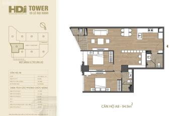 Hướng Đông Nam, HDI Tower căn hộ A8, DT 95m2, dự án HDI Tower, tặng 100tr, hỗ trợ vay 70%