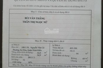 Bán nhà 1 trệt 1 lầu hẻm 188 đường Nguyễn Văn Cừ, phường An Hoà, quận Ninh Kiều, Tp Cần Thơ.