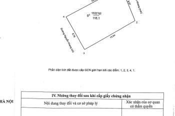 Đất mặt phố Nguyễn Khang 117m2 (2 mặt mặt tiền mặt hậu) cách ngã tư cầu 361 Vũ Phạm Hàm 30m