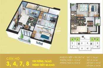 Bán căn hộ diện tích 74m2 khu đô thị mới Cầu Bươu