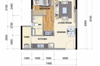 Bán căn hộ Celadon City khu Emerald 1 phòng ngủ tầng 8, lịch thanh toán sỉ, trả góp 0% LS đến 2021