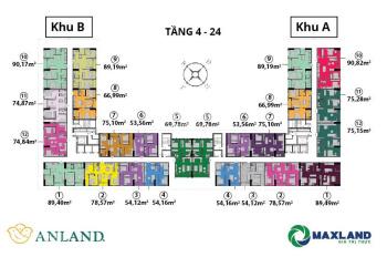 Căn 06, 54m2, 2PN cửa Tây Nam chung cư Anland Complex Nam Cường, giá 1,6 tỷ, nội thất cơ bản