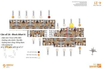 Chính chủ cần bán căn hộ 75m2 dự án Akari City Nam Long Võ Văn Kiệt giá bán 2,62 tỷ LH: 0963815068