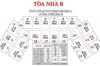 Gấp, bán cắt lỗ CHCC IA20 Ciputra P 509 - 93.53m2 & tòa B, giá 21.6 tr/m2, 0912277233