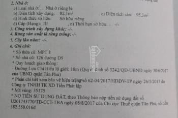 Bán nhà 126 Lưu Chí Hiếu, P Tây Thạnh, Quận Tân Phú, 5,2m x 21m. Nhà cấp 4