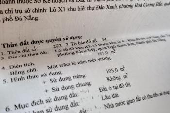 Cần bán lô đất đường Lê Văn Thủ đối diện công viên khu Nam Việt Á, giá đầu tư