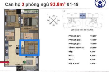 Chính chủ tôi bán căn 3N chưa ở ngày nào S= 93,8m2 tầng 14 Berriver 390 NVC giá 2,7tỷ, O969.732.857