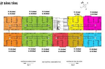 Bán gấp căn hộ mặt tiền Điện Biên Phủ tầng cao view đẹp chỉ 60tr/m2 thủ tục nhanh gọn từ CĐT