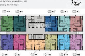 Bán Chung cư The Golden An Khánh, căn góc 1511 tòa 32T, 70m2, full đồ giá 1 tỷ 350tr. 0963777502