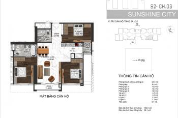 Sunshine City căn 3PN 98m2 có 2 ban công hướng Nam tòa S2, giá 3,6 tỷ gồm VAT +KPBT. LH 0981045057