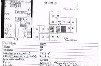 Cần bán cắt lỗ gấp căn 909 Ruby 3 dự án Goldmark City 136 Hồ Tùng Mậu. Giá 2.3 tỷ bao phí sang tên