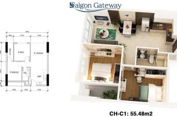 Cần bán căn hộ 2PN Sài Gòn Gateway Q9, 1.85 tỷ, bao phí, vay NH 75%, nhà ở ngay LH 0938589117