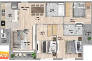 Chi tiết giá và thông số căn 3PN - 107m2, tầng 22 tòa B. Giá 34tr/m2 liên hệ PKD: + 84.0904.460.888