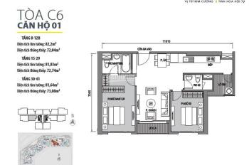 Bán căn 2PN 82m2 đông nam view hồ điều hòa tòa VIP C6 dự án Dcapitale giá chỉ 3,4 tỷ