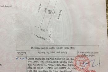 Bán lô đất mặt đường Cát Vũ, Hải An, Hải Phòng, 103m2, giá 12,7 tr/m2