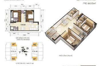 Bán căn hộ VOV - Mễ Trì tòa CT1 - 2PN, DT 70m2, căn góc 2 mặt thoáng