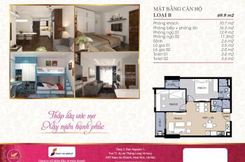 Chính chủ bán căn hộ 69.9m2 tầng 10 giá 1 tỷ 5, LH 0943.303.296