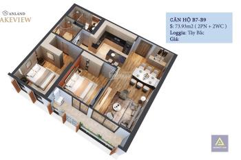 CĐT bán căn 07 tầng 09, 2PN - 74m2 chỉ 1.9 tỷ, cho vay 70% GTCH với LS 0% 18 tháng