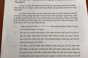 Chính sách đồng giá 23,8tr/m2 duy nhất cho khách hàng đặt mua căn hộ TSG Sài Đồng trong T4 này.