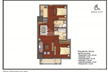 Chính chủ bán chung cư Royal City toà R1, 88m2, thiết kế 2PN, BCĐN, view quảng trường. 0943558888