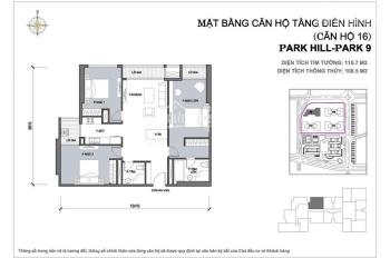 Chính chủ cho thuê căn 3PN tại Times City Park Hill Pre, giá 20.5tr/th, diện tích 115m2